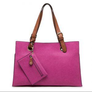 Purple Faux Leather Shoulder Bag with Purse (LS450)