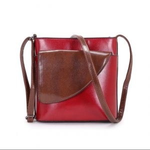 Small Red and Brown | Crossbody Bag (LS1015) Faux Leather Handbags