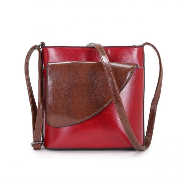Small Red and Brown | Crossbody Bag (LS1015)Faux Leather Handbags