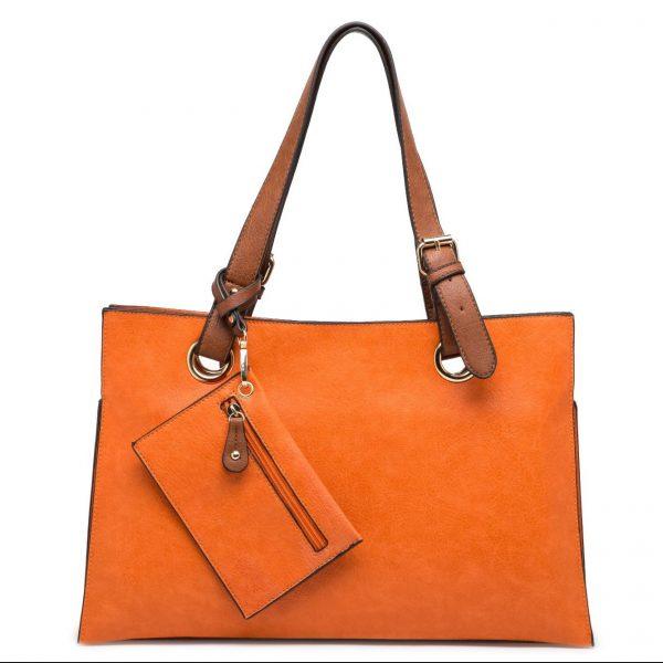 Orange Faux Leather Shoulder Bag with Purse (LS735)