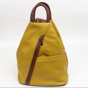 Italian Leather Mustard/Brown Backpack - Large (BAG53) | Italian Leather Bags