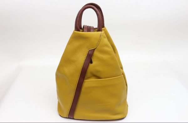 Italian Leather Mustard/Brown Backpack - Large (BAG53)