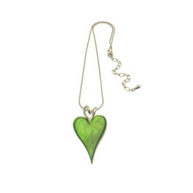 Green Heart Necklace (M110) | Silver Plated Jewellery