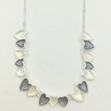Silver & Grey Multi Heart Necklace (G337)