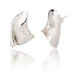 Organic Curved Sterling Silver Stud Earrings (SP282)