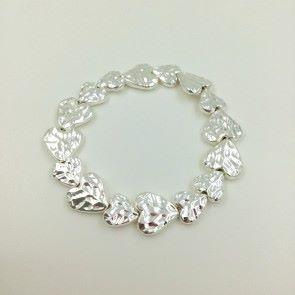 Silver Textured Heart Bracelet (G243)