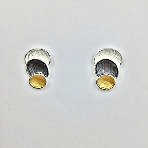 Stylish 3 Tone Stud Earrings (G15)