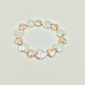 Rose Gold and Silver Heart Elasticated Bracelet (G126)