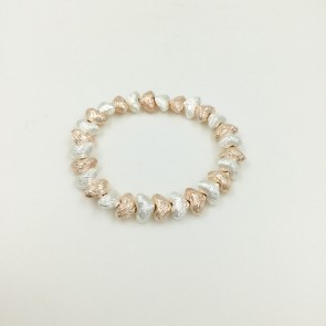 Rose Gold and Silver Coloured Heart Bracelet (G124)