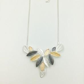 Multi Tone Leaf Necklace (G466)