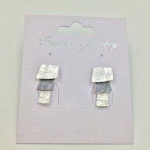Layered 2 Tone Stud Earrings (G166) | Silver Plated Jewellery