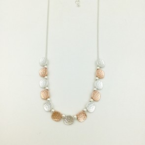 Delicate Silver and Rose Gold Coloured Disc Necklace (G448)