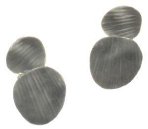 Grey Layered Disc Earrings (M74) | Silver Jewellery