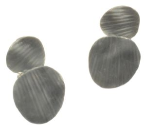 Grey Layered Disc Earrings (M74)