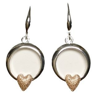 Open Circle Earrings with Heart (G501) | Silver Jewellery