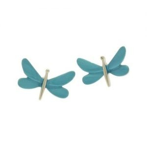 Turquoise Dragonfly Stud Earrings (M105)