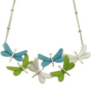 Turquoise, Green & Silver Dragonfly Necklace (M104)