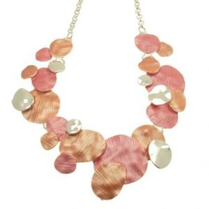 Coral Layered Disc Necklace (M108)