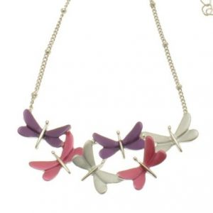 Purple, Pink & Silver Dragonfly Necklace (M102)