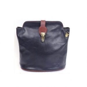 Italian Leather Crossbody Bag - Navy (BAG8a) | Italian Leather Bags