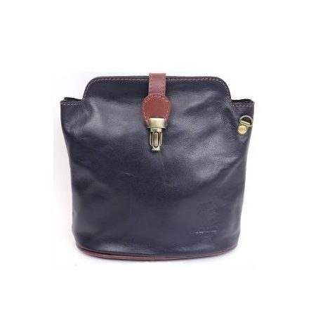 Italian Leather Crossbody Bag - Navy (BAG8a)