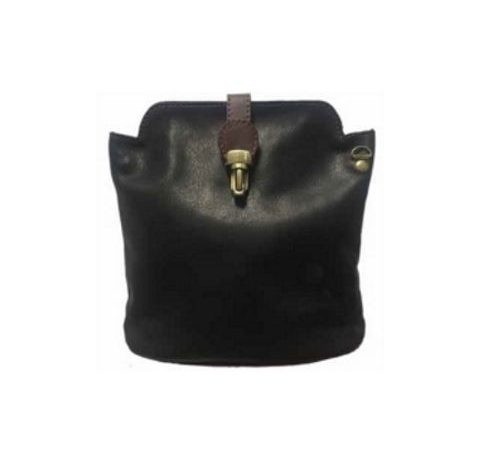Italian Leather Crossbody Bag - Black (BAG8)