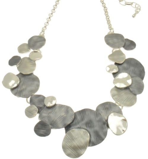 Grey Layered Disc Necklace (M59)