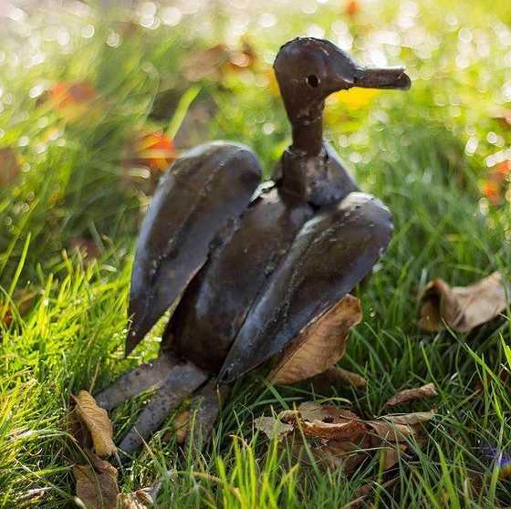 Recycled Brown Metal Duck