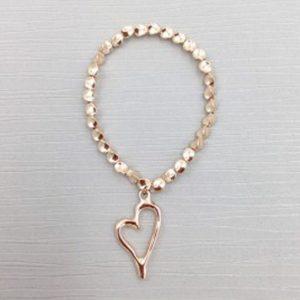 Rose gold coloured heart bracelet | Silver Jewellery