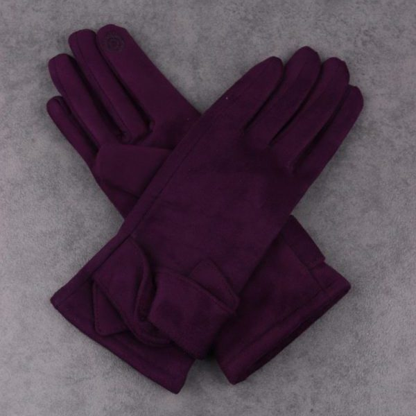 Twist Detail Purple Gloves