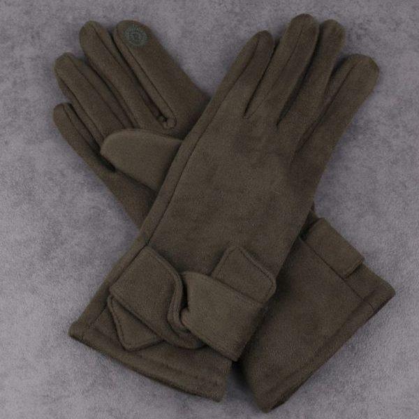 Twist Detail Green Gloves