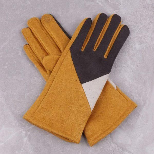 Geometric Design Mustard Gloves