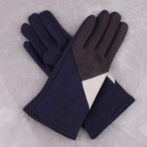 Geometric Design Navy Gloves