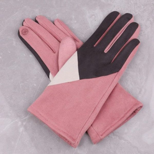 Geometric Design Pink Gloves