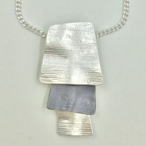Layered 2 Tone Pendant (G305) | Silver Plated Jewellery Sets | Silver Jewellery