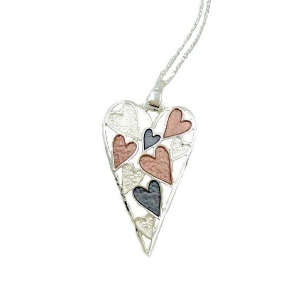 Elegant 3 Tone Heart Pendant (G631)