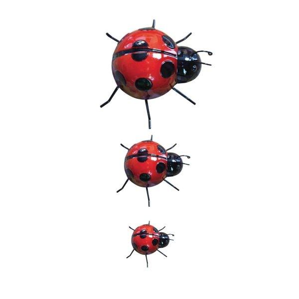 Set of 3 Metal Ladybirds