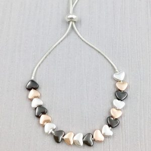 Pretty 3 Tone Heart Bracelet (G511) | Silver Jewellery