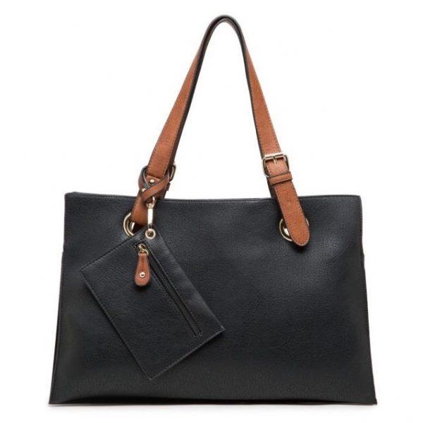 Black Faux Leather Shoulder Bag with Purse (LS653)
