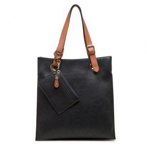 Black Faux Leather Shoulder Bag with Purse (LS723)