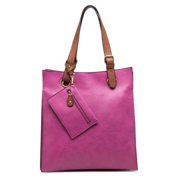 Purple Faux Leather Shoulder Bag with Purse
