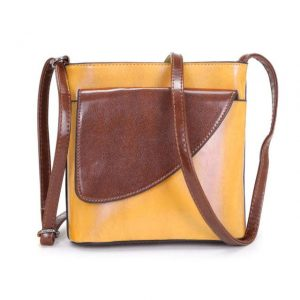 Small Yellow and Brown Crossbody Bag (LS1014)