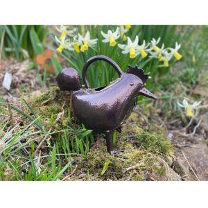 Bronze hen watering can