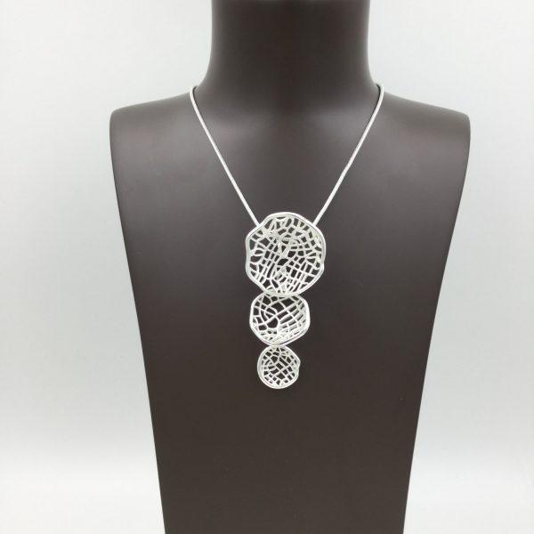 Striking Triple Disc Pendant (G548)   Silver Plated Jewellery