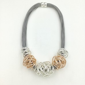 Open Wire Rose Gold Silver Necklace G738