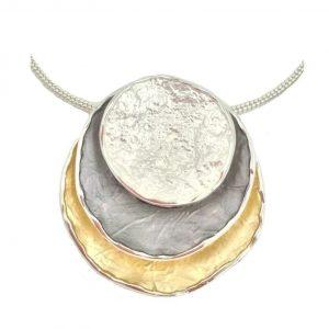 Stunning Statement 3 Tone Pendant (G69)   Silver Plated Jewellery