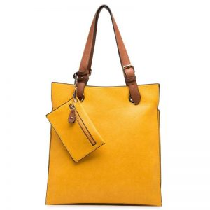 Yellow Faux Leather Shoulder Bag with Purse (LS742)
