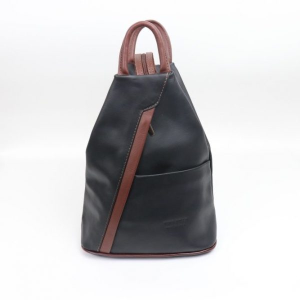 Italian Leather Navy/Brown Backpack - Large (BAG101)