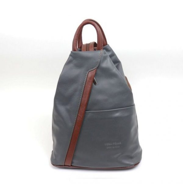 Italian Leather Dark Grey Backpack - Large (BAG116)