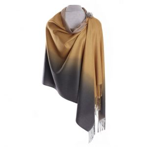 Luxurious Gold/Grey Pashmina with Pin | Luxury Scarves